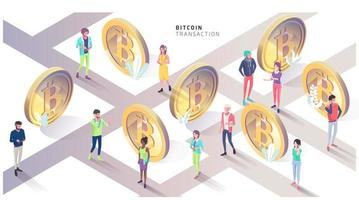 Isometrisches Konzept mit Bitcoins und Leuten. Stadt der Bitcoin.