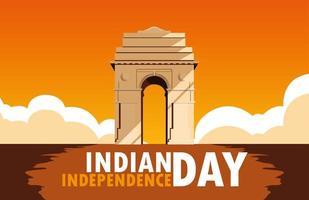 indisk självständighetsdag affisch med india gate vektor