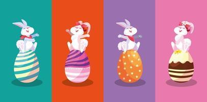Gruppe Kaninchen, die in den Eiern von Ostern sitzen