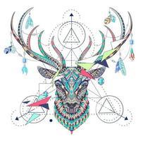 Geometriskt mönstrade hjortarhuvud