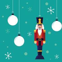 nutcracker soldatleksak med bollar av jul vektor
