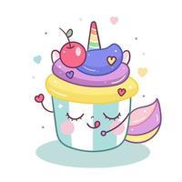 Niedliche Einhornkarikatur im magischen Kuchen-Cartoongekritzel