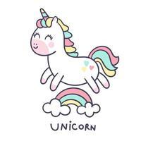 Kleines Pony, das über Regenbogen springt