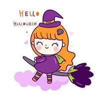 Söt häxaflicka Halloween vektor