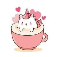Niedliche Einhornkarikatur in der Kaffeetasse