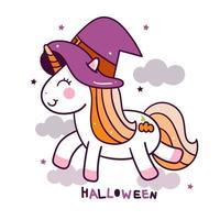 Halloween söt enhörningstecknad film vektor