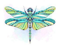 Bunte kopierte Libelle auf grunge Hintergrund vektor