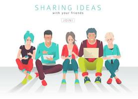 Internationellt multikulturellt team som sitter på marken och arbetar
