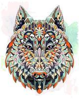 Mönstrade huvudet av vargen eller hunden på grungebakgrund