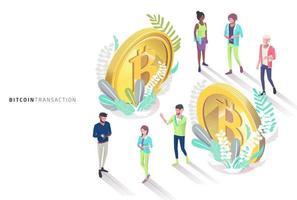 Isometrische Menschen und Bitcoins, umgeben von Blättern vektor