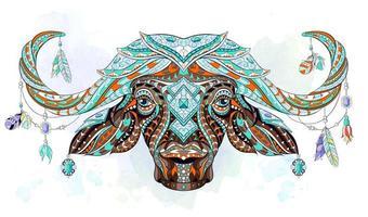 Mönstrade buffelhuvud på akvarellbakgrund