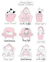 Niedliche Tierbabys vor dem Schlafengehen vektor
