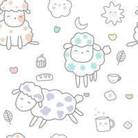 süßes Baby Schaf Cartoon - nahtlose Muster vektor