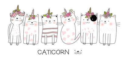 Catcornillustrationuppsättning vektor