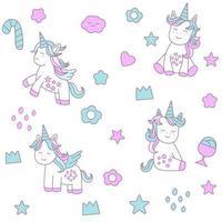 Behandla som ett barn unicorntecknad film - sömlöst mönster