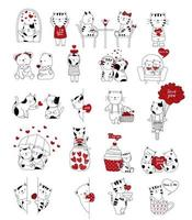 Alla hjärtans dag tecknade hand dras stil söta djur vektor