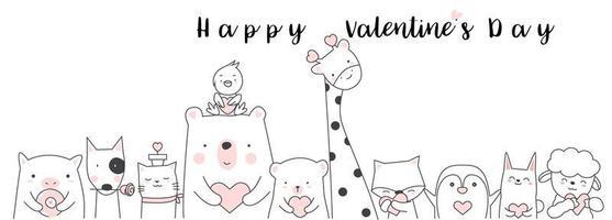 Valentinstag mit niedlichen Tierbabys vektor