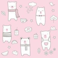 Rosa söta babybjörntecknad film - sömlösa mönster