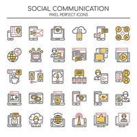 Uppsättning av Duotone tunn linje ikoner för social kommunikation