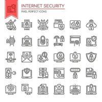 Uppsättning av svartvita tunn linje ikoner för säkerhet på internet vektor