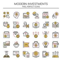Uppsättning av Duotone tunn linje moderna investeringar ikoner