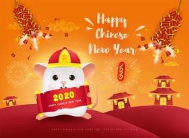 Frohes chinesisches Neujahr. Das Jahr der Ratte 2020.