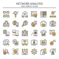 Reihe von Duotone Thin Line Network Analysis Icons