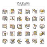 Uppsättning av Duotone Thin Line Wed Design Elements vektor