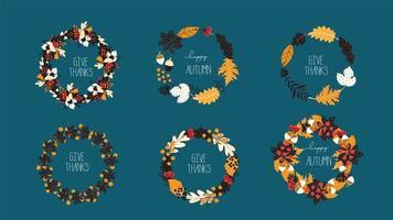 Herbst Dank Kränze Set vektor