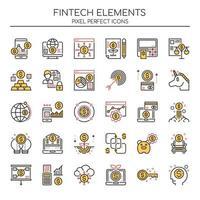 Duotone Fintech-Elemente für dünne Linien