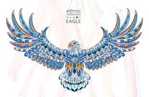 Gemusterter Adler mit ausgebreiteten Flügeln