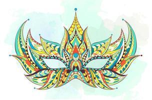 Färgrik mönstrad mask på grungebakgrund