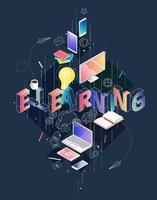 Isometrisches Konzept mit der dünnen Linie Buchstaben, die E-Learning buchstabieren vektor
