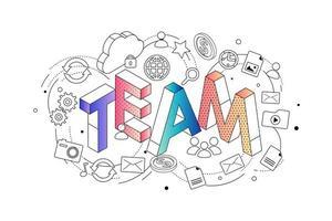 Isometriskt koncept med tunn linje bokstäver som stavar ordet Team