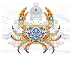 Kopierte Krabbe auf Aquarellbürsten-Anschlaghintergrund vektor