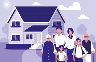 grupp familjemedlemmar med hus