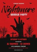 Halloween-Party-Plakat mit der Hand, die aus Kirchhof-Boden herauskommt