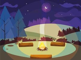 campingzon med lägereld i bergen