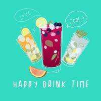 Lycklig drinkstid Cocktails-affisch vektor