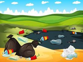 Landschaft mit Müll im Fluss und herum