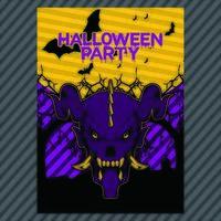 Läskigt Halloween Party Inbjudningsblad vektor