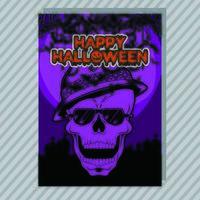 Purpurfärgad Halloween Party inbjudningsreklamblad. Redigerbar vektor