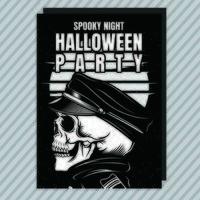 Skelett Halloween party inbjudningsreklamblad vektor