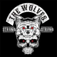 Wolf mit Schädelhandzeichnung