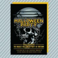 vintage halloween party inbjudningsreklamblad vektor