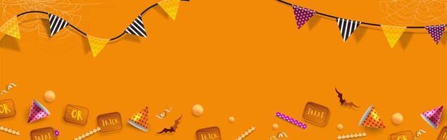 Halloween-banner eller bakgrund med Halloween-element vektor