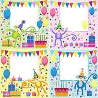 Uppsättning födelsedagkort med roliga apor vektor
