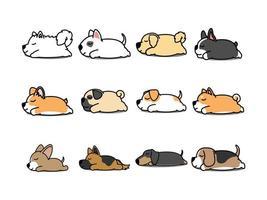 Lazy dog sover tecknad ikonuppsättning vektor