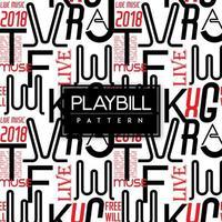 Schwarzweiss-Playbill-Text-nahtloser Muster-Hintergrund