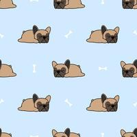 Netter Welpe der französischen Bulldogge, der nahtloses Muster schläft vektor